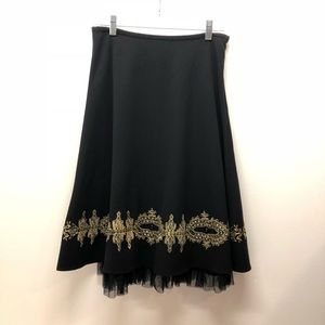 Sunny Leigh Black Ruffle Embroidered Skirt Size 4